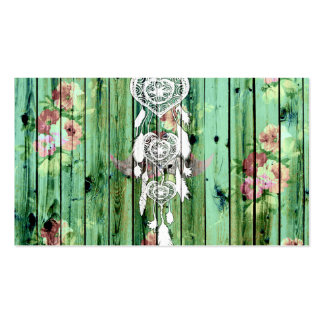 White Heart Dreamcatcher Floral Green Striped Wood Business Card