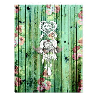 White Heart Dreamcatcher Floral Green Striped Wood Flyer
