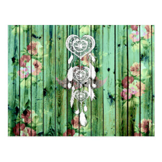 White Heart Dreamcatcher Floral Green Striped Wood Postcard