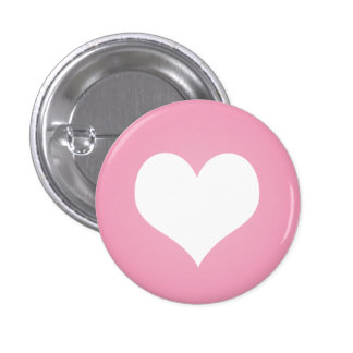 White heart flair 1 inch round button