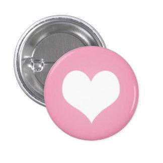 White heart flair pinback button