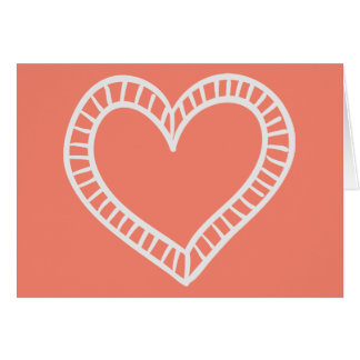 White Heart Hand Drawn Coral Orange Love  -Verse Card