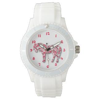 White Heart Horse Pony Watch