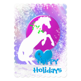White Heart Horses V Holiday (Colorful Haze) Card