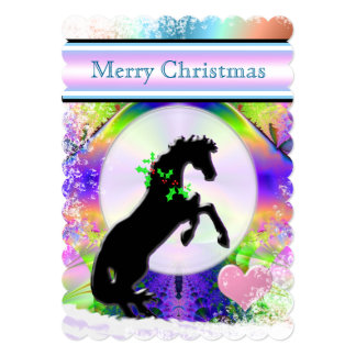 White Heart Horses V Holiday (fractal 87) Card