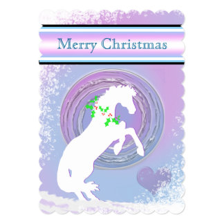 White Heart Horses V Holiday (Pink/Lav Swirl) Card