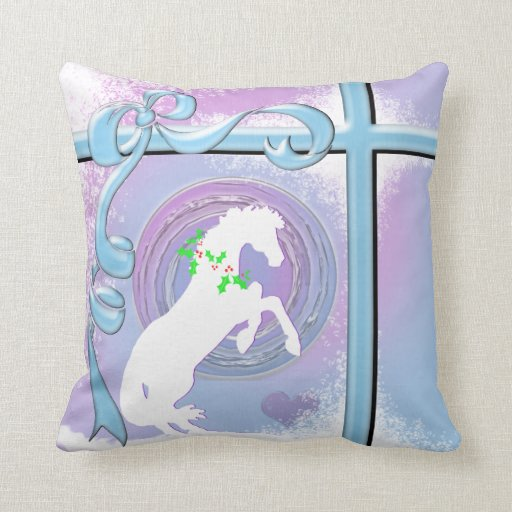 White Heart Throw Pillow : White Heart Horses V Holiday (Pink/Lav Swirl/Wind) Throw Pillow Zazzle