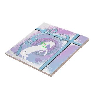 White Heart Horses V Holiday (Pink/Lav Swirl/Wind) Tile
