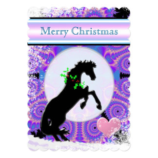 White Heart Horses V Holiday (undersea background) Card