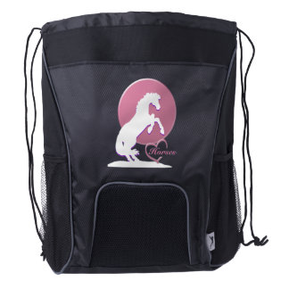 White Heart Horses V (Pink) Drawstring Backpack