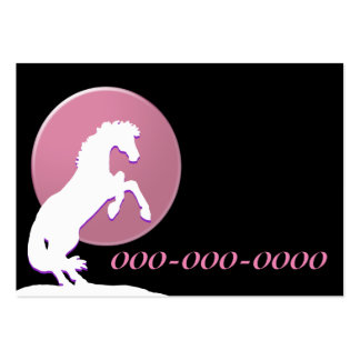 White Heart Horses V (Pink) Large Business Cards (Pack Of 100)
