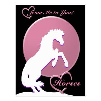 White Heart Horses V (Pink) Postcard