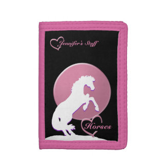 White Heart Horses V (Pink) Trifold Wallets