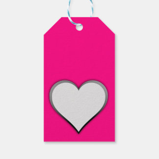 white heart in hot pink pack of gift tags