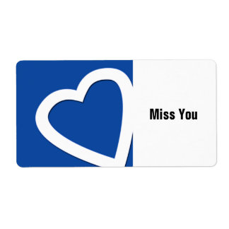 White heart, Miss You sticker. Label