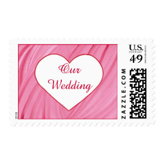 White heart on pink red blends our wedding stamps