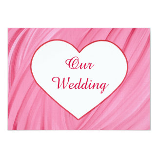 White heart on pink red blends wedding invitations