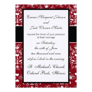 white heart on red romantic love damask design invites