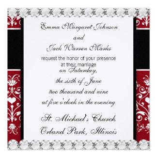 white heart on red romantic love damask design custom invites