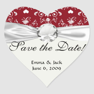white heart on red romantic love damask heart sticker