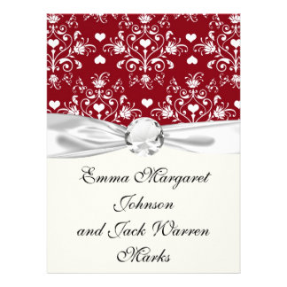 white heart on red romantic love damask personalized invite
