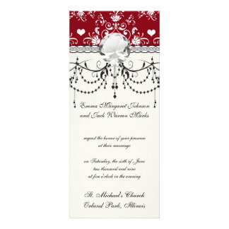 white heart on red romantic love damask announcement