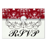 white heart on red romantic love damask invitation