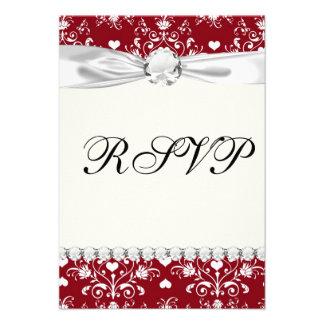 white heart on red romantic love damask custom invitation
