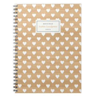 White Heart on Wood Pattern Personalized Notebook
