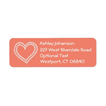 Professional Business White Heart Orange Coral Return Address Name Label