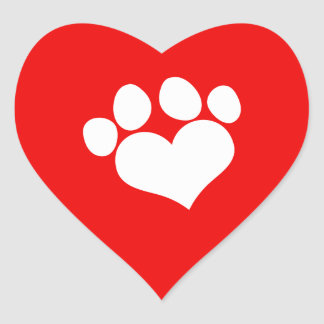 White Heart Paw Print 2 Heart Sticker