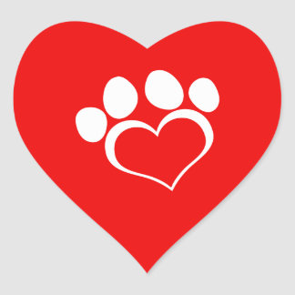 White Heart Paw Print Heart Sticker