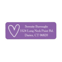 White Heart Purple Love - Wedding / Engagement Label