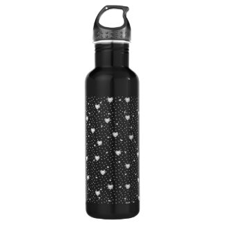 White Heart Shape Diamonds Pattern Water Bottle