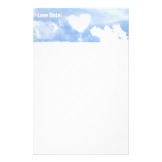 White Heart Shaped Cloud in the Sky Stationery