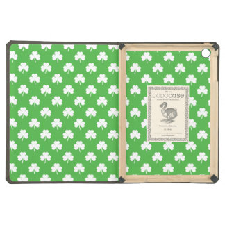 White Heart-Shaped Clover on Green St. Patrick's Case For iPad Air