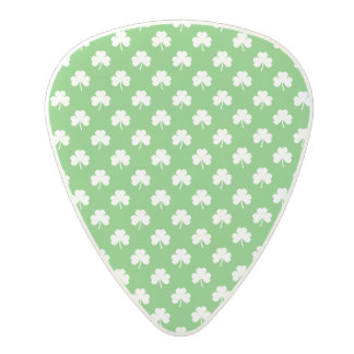 White Heart-Shaped Clover on Green St. Patrick's Polycarbonate Guitar Pick