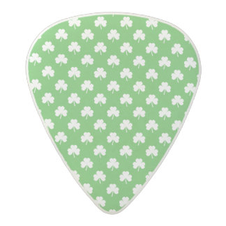 White Heart-Shaped Clover on Green St. Patrick's Acetal Guitar Pick