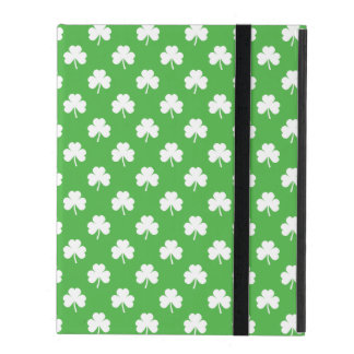 White Heart-Shaped Clover on Green St. Patrick's iPad Case