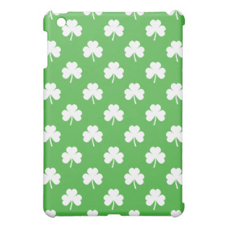 White Heart-Shaped Clover on Green St. Patrick's Cover For The iPad Mini