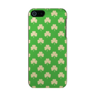 White Heart-Shaped Clover on Green St. Patrick's Incipio Feather® Shine iPhone 5 Case