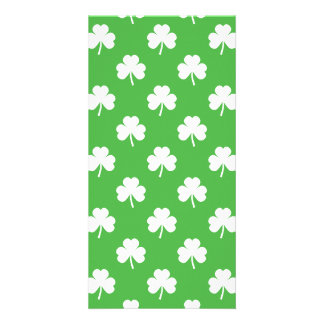 White Heart-Shaped Clover on Green St. Patrick's Photo Card Template