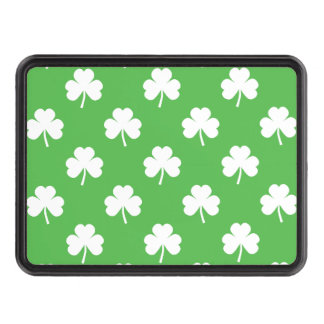 White Heart-Shaped Clover on Green St. Patrick's Tow Hitch Covers