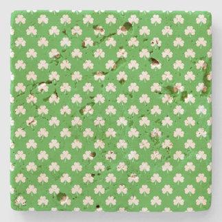 White Heart-Shaped Clover on Green St. Patrick's Stone Coaster