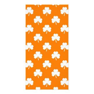 White Heart-Shaped Clover on Orange St. Patrick's Card