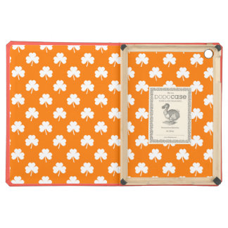 White Heart-Shaped Clover on Orange St. Patrick's iPad Air Covers