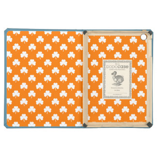 White Heart-Shaped Clover on Orange St. Patrick's Cover For iPad Air