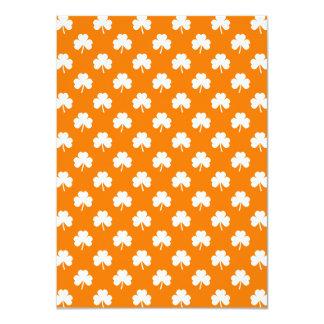 "White Heart-Shaped Clover on Orange St. Patrick's 4.5"" X 6.25"" Invitation Card"