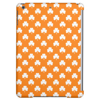 White Heart-Shaped Clover on Orange St. Patrick's iPad Air Cases