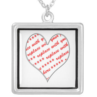 White Heart Shaped Photo Frame Silver Plated Necklace